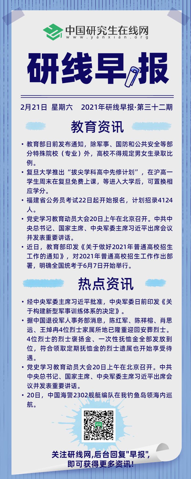 【2021年研线早报·第三十二期】2月21日